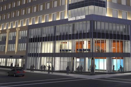 Baker Center exterior night rendering