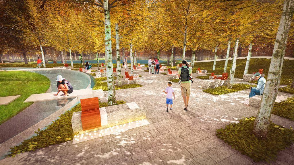 Rendering of a memorial grove